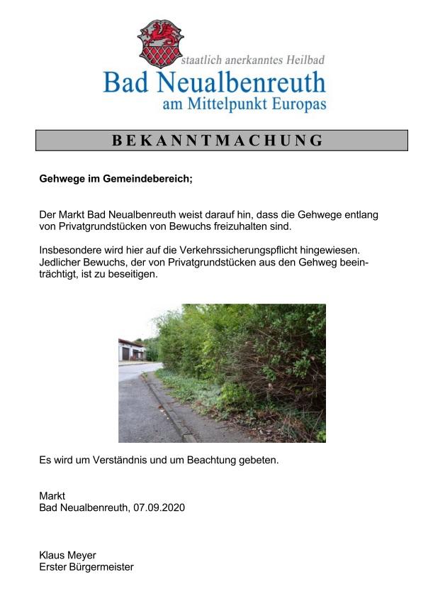 Bekanntmachung Gehwege im Gemeindebereich