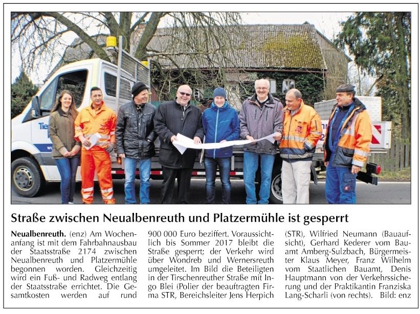 2017-03-22 Straße zwischen Neualbenreuth und Platzermühle gesperrt