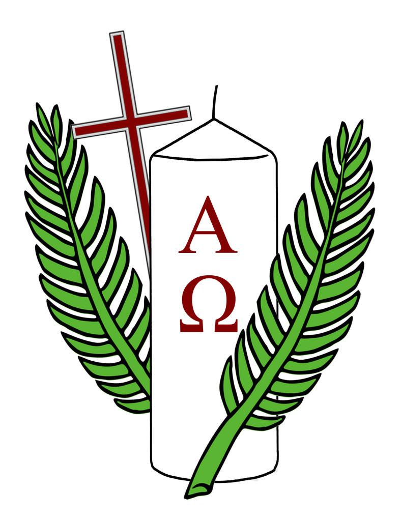 Palmzweig, Kreuz und Osterkerze