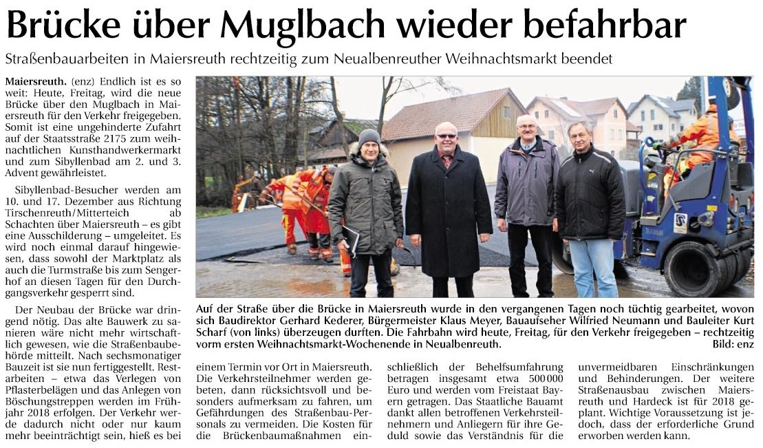 2017-12-08 Brücke in Maiersreuth wieder befahrbar